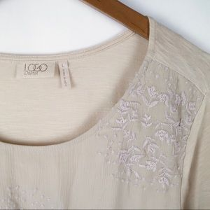 LOGO lavish cream asymmetrical hem tunic large